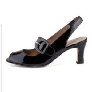 Anyi Lu tulip sling back open toe sandals.